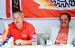Ildar Rahmatullin and Zvone Suvak at press conference of HK Acroni Jesenice before new season 2009/2010, on July 23 2009, in Jesenice, Slovenia. (Photo by Vid Ponikvar / Sportida)