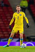 Sergey Maliy (#2) of Kazakhstan during the UEFA European 2020 Group I qualifier match between Scotland and Kazakhstan at Hampden Park, Glasgow, United Kingdom on 19 November 2019.