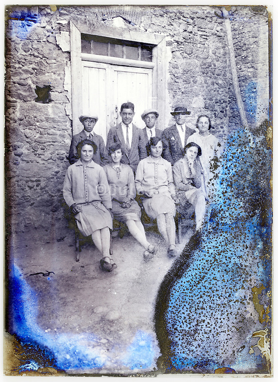 young adult couples from the village on a severely eroded glass plate