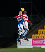 28th March 2018, McDiarmid Park, Perth, Scotland; Scottish Premier League football, St Johnstone versus Hamilton Academical; Marios Ogboe of Hamilton Academical and Steven Anderson of St Johnstone compete in the air