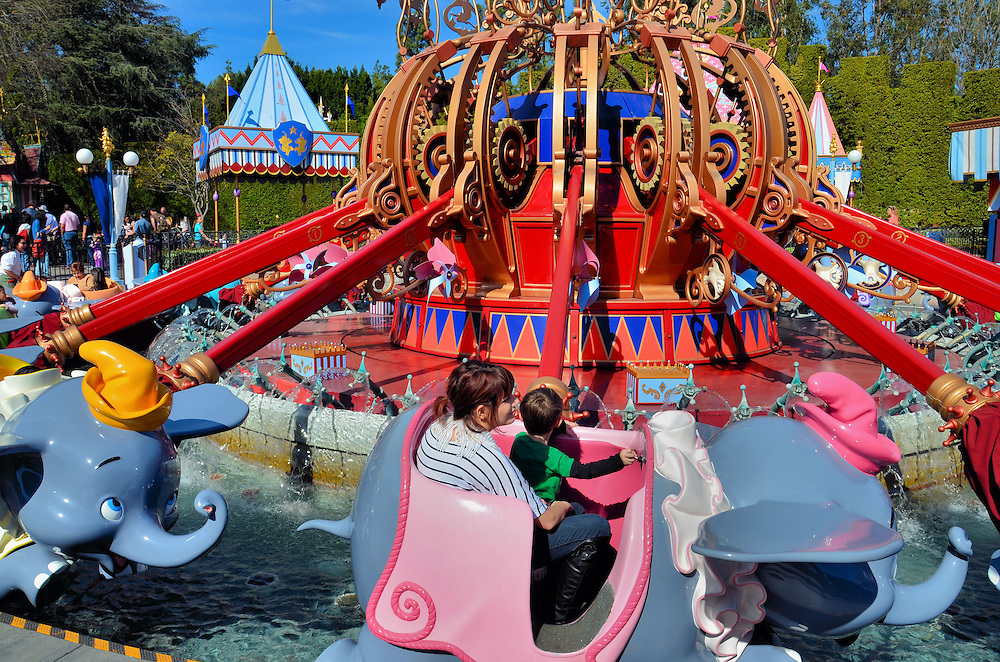 Dumbo the Flying Elephant Ride in Fantasyland at Disneyland in Anaheim, California<br />