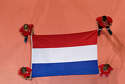 21-09-2019 NED: EC Volleyball 2019 Netherlands - Germany, Apeldoorn<br /> 1/8 final EC Volleyball / Dutch flag