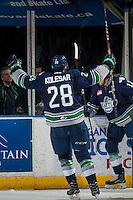 KELOWNA, CANADA - FEBRUARY 13: Keegan Kolesar #28 of the Seattle Thunderbirds celebrates a goal against the Kelowna Rockets on February 13, 2017 at Prospera Place in Kelowna, British Columbia, Canada.  (Photo by Marissa Baecker/Shoot the Breeze)  *** Local Caption ***
