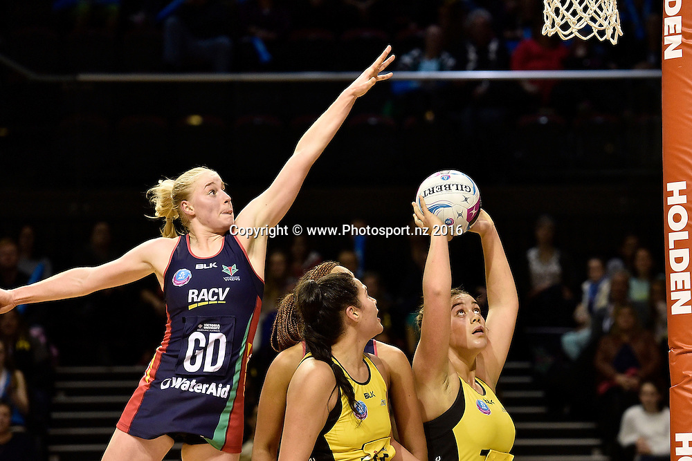 Pulse's Maia Wilson (R looks to shoot with Vixen's Jo Weston (L) during the ANZ Champs Pulse vs Vixens netball match at TSB Arena in Wellington on Monday the 04 July 2016. Copyright Photo by Marty Melville / www.Photosport.nz