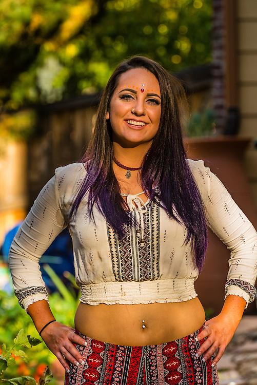 Young counterculture Colorado woman, Littleton, Colorado USA.