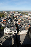 View from one of the spires of the 12th century Cathedral in Laon (Cathédrale Notre-Dame de Laon), Aisne, France © Rudolf Abraham