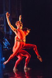 "© Licensed to London News Pictures. 12/05/2015. London, England. Duet performed by Luke Ahmet and Pierre Tappon. Rambert Dance Company perform the World Premiere of ""Dark Arteries"" by Mark Baldwin as part of a triple bill at Sadler's Wells Theatre. Rambert perform with the Tredegar Town Band and the Rambert Orchestra from 12 to 16 May 2015. Photo credit: Bettina Strenske/LNP"