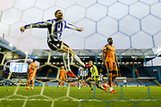 Sheffield Wednesday forward, on loan from Norwich City, Gary Hooper scores fourth goal and celebrates in style  during the Sky Bet Championship match between Sheffield Wednesday and Wolverhampton Wanderers at Hillsborough, Sheffield, England on 20 December 2015. Photo by Simon Davies.