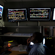 Jeffrey Bennett, Operations Manager for Keolis, monitors the trains at the VRE office in Alexandria, Virginia. ..