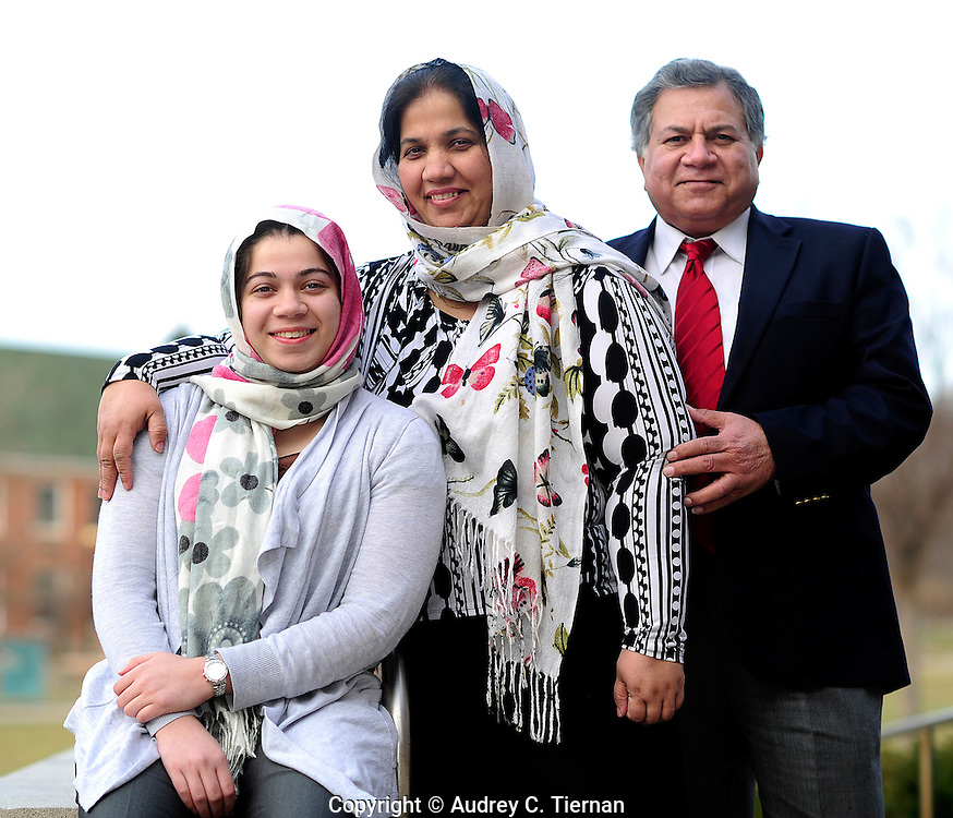 Staten Island, NY:  Saturday, February 26, 2012-- Zujaja Tauqeer, 21, of Staten Island, a senior at Macaulay Honors College at Brooklyn College, is the only scholar from a New York college chosen for the Rhodes Scholarship in 2011.  Photograhered with her father Dr. Tauqeer Ahmad and her mother Dr. Ayesha Tauqeer.  © Audrey C. Tiernan