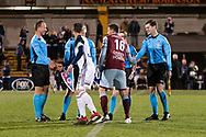 SYDNEY, AUSTRALIA - AUGUST 21: Referees and captains shake hands before the game at the FFA Cup Round 16 soccer match between APIA Leichhardt Tigers FC and Melbourne Victory at Leichhardt Oval in Sydney on August 21, 2018. (Photo by Speed Media/Icon Sportswire)