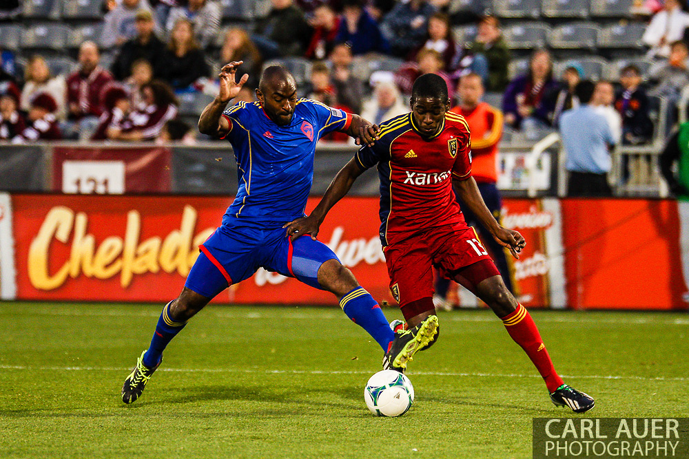 April 6th, 2013 - Colorado Rapids defender Marvell Wynne (22) steps in front of Real Salt Lake forward Olmes Garcia (13) to attempt to steal the ball in the second half of the MLS match between Real Salt Lake and the Colorado Rapids at Dick's Sporting Goods Park in Commerce City, CO
