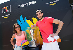 Luka Babic with his girlfriend at FIBA Basketball World Cup Spain 2014 Trophy Tour, on June 22, 2014 in Ban Jelacic Square, Zagreb, Croatia. Photo By Vid Ponikvar / Sportida