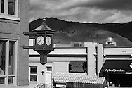 Shops overlooking the hills of Washington in Downtown Hood River