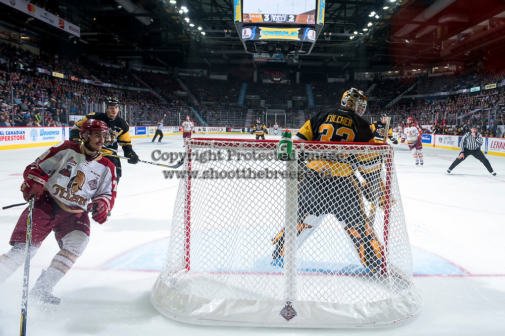REGINA, SK - MAY 22: Samuel Asselin #28 of Acadie-Bathurst Titan skates behind the net of Kaden Fulcher #33 of Hamilton Bulldogs at the Brandt Centre on May 22, 2018 in Regina, Canada. (Photo by Marissa Baecker/CHL Images)