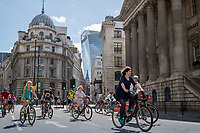 A view of Bank, overlooking the 'Walkie-Talkie' building, as riders pass No.1 Cornhill and Mansion House as part of the Prudential RideLondon FreeCycle 29/07/2017<br />