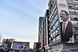 March 27, 2019 - Ankara, Turkey - Election billboards picturing MEHMET OZHASEKI, the mayoral candidate of the ruling Justice and Development Party (AKP) for the metropolitan municipality, are seen in the city centre ahead of the upcoming local elections. (Credit Image: © Altan Gocher/ZUMA Wire)