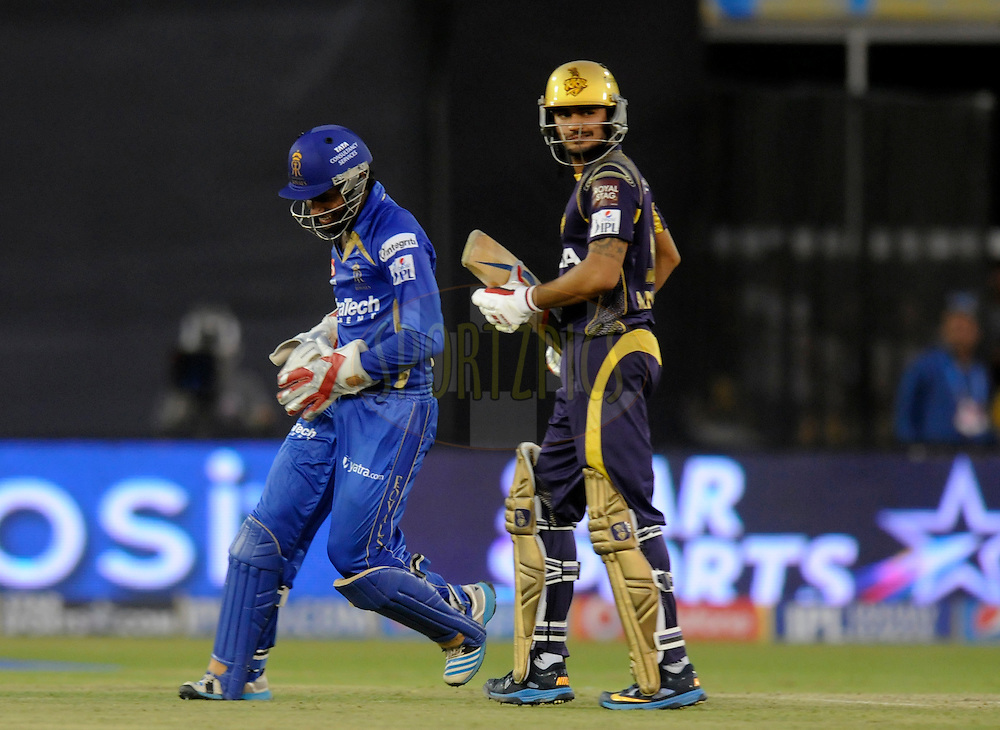 Sanju Samson of the Rajatshan Royals celebrates after taking the bails off to get the wicket of Manish Pandey of the Kolkata Knight Riders during match 25 of the Pepsi Indian Premier League Season 2014 between the Rajasthan Royals and the Kolkata Knight Riders held at the Sardar Patel Stadium, Ahmedabad, India on the 5th May  2014<br /> <br /> Photo by Pal Pillai / IPL / SPORTZPICS      <br /> <br /> <br /> <br /> Image use subject to terms and conditions which can be found here:  http://sportzpics.photoshelter.com/gallery/Pepsi-IPL-Image-terms-and-conditions/G00004VW1IVJ.gB0/C0000TScjhBM6ikg