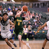 2nd year guard Benjamin Hillis (8) of the Regina Cougars during the Men's Basketball home game on November 11 at Centre for Kinesiology, Health and Sport. Credit: Arthur Ward/Arthur Images