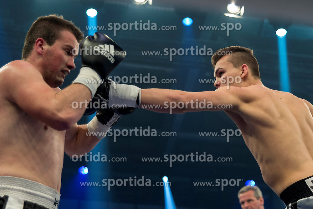 12.03.2016, Jahnsportforum, Neubrandenburg, GER, Boxgala, WBA Weltmeisterschaftskampf, im Bild v.l. Leon Bauer (Germany) vs Dino Sabanovic (Bosnia Herzegowina) Super Middleweight // during the WBA Light Heavyweight World Championship Boxgala at the Jahnsportforum in Neubrandenburg, Germany on 2016/03/12. EXPA Pictures &copy; 2016, PhotoCredit: EXPA/ Eibner-Pressefoto/ Koch<br /> <br /> *****ATTENTION - OUT of GER*****
