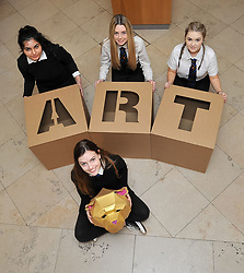Pictured: Charly Miller, holding a golden bear head design and fellow an S5 pupils Momina Younis, Sophia Somerville and Neva Houston all from Drummond Community High School holding giant ART letters which forms part of the exhibition<br /> <br /> 'The Art of the Future' was an ambitious project that asked young people across Scotland what they thought the art of the future was. The results are in a display opening at the Scottish National Gallery in Edinburgh this week.<br /> <br /> © Dave Johnston / EEm