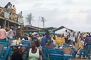 View of Labadi Beach in Accra, Ghana on Sunday October 8, 2007. Also known as La Pleasure Beach, it is one of the city's most popular hangouts, especially on Sunday afternoons.
