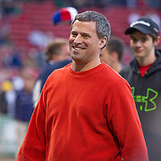 Gil Preuss, Executive Vice President of Combined Jewish Philanthropies, is seen on the field during Fenway Park's Jewish Heritage Night at the game between the Atlanta Braves and the Boston Red Sox at Fenway Park on May 29, 2014 in Boston, Massachusetts. (Photo by Elan Kawesch/Times of Israel)