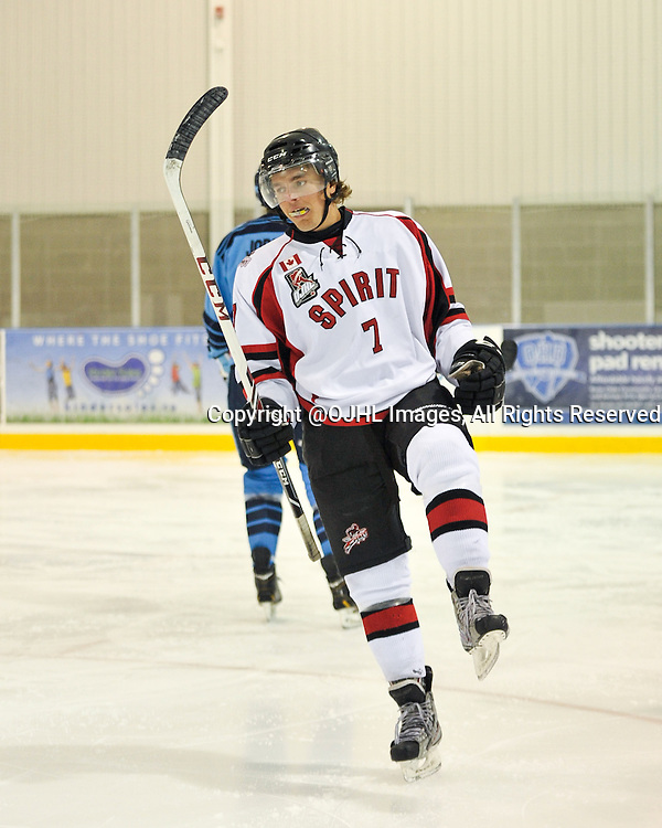 Ontario Junior Hockey League game action between Stouffville and St. Michaels at the Governor's Showcase Tournament.  Brodie Tutton #7 of the Stouffville Spirit Hockey Club celebrates the goal celebrates the goal during first period game action.<br /> (Photo by Gary Keys / OJHL Images)