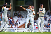 Wicket! Harry Podmore of Kent celebrates taking the wicket of Scott Borthwick of Surrey during the Specsavers County Champ Div 1 match between Surrey County Cricket Club and Kent County Cricket Club at the Kia Oval, Kennington, United Kingdom on 7 July 2019.