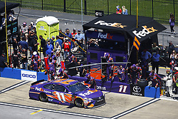 April 29, 2018 - Talladega, Alabama, United States of America - Denny Hamlin (11) brings his car down pit road for service during the GEICO 500 at Talladega Superspeedway in Talladega, Alabama. (Credit Image: © Chris Owens Asp Inc/ASP via ZUMA Wire)