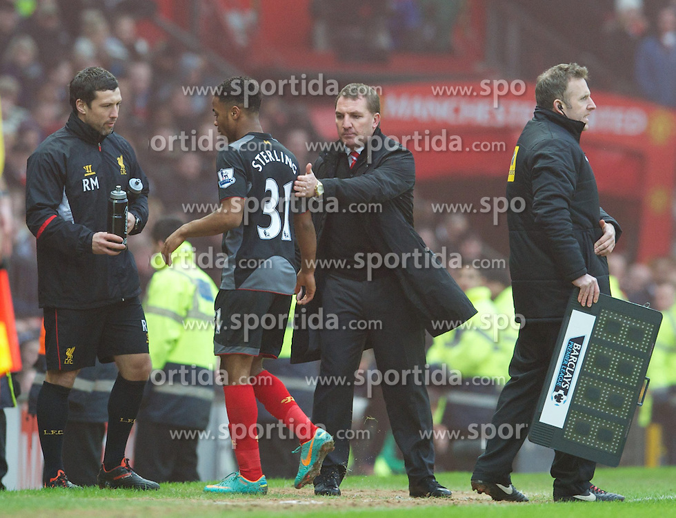 13.01.2013, Old Trafford, Manchester, ENG, Premier League, Manchester United vs FC Liverpool, 22. Runde, im Bild Liverpool's manager Brendan Rodgers substitutes Raheem Sterling during the English Premier League 22th round match between Manchester United and Liverpool FC at Old Trafford, Manchester, Great Britain on 2013/01/13. EXPA Pictures © 2013, PhotoCredit: EXPA/ Propagandaphoto/ David Rawcliffe..***** ATTENTION - OUT OF ENG, GBR, UK *****