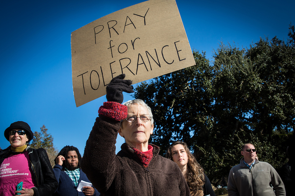 Anna Nardo , a professor of English at Louisiana State University at a protest against the prayer rally on campus.Community groups combine with student and faculty to hold their own one day event in protest called,  Organize, Reflect, Act: A Day of Action for Justice in Louisiana.  Over three hundred peopled marched to Pete Maravich Assembly Center on LSU's campus where the prayer event was held. Gov. Bobby Jindal was the keynote speaker at the event.