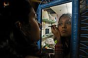 Swati Bangalore, member of the theatre group SETU, gets ready for their latest production at the Arlington Centre for Arts, Arlington, Boston...Photo by Varsha Yeshwant Kumar