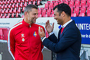 VELSEN - 22-08-2016, Telstar - Helmond Sport, Rabobank IJmond Stadion, 4-2, SC Telstar trainer/coach Michel Vonk, Helmond sport trainer/coach Roy Hendriksen.