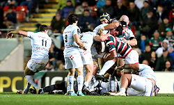 Henry Chavancy of Racing 92 is tackled - Mandatory by-line: Robbie Stephenson/JMP - 23/10/2016 - RUGBY - Welford Road Stadium - Leicester, England - Leicester Tigers v Racing 92 - European Champions Cup