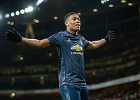 Football - 2018 / 2019 FA Cup - Fourth Round: Arsenal vs. Manchester United <br /> <br /> Anthony Martial (Manchester United) celebrates in front of his fans after scoring at The Emirates Stadium.<br /> <br /> COLORSPORT/DANIEL BEARHAM