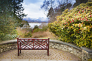 A bench, at Brockhole - The Lake District Visitor Centre - positioned to provide a fine view across Windermere, Cumbria.