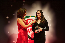 CARDIFF, WALES - Monday, October 5, 2015: Wales' Helen Ward is interviewed by Frances Donovan after winning the Women's Player of the Year Award during the FAW Awards Dinner at Cardiff City Hall. (Pic by Ian Cook/Propaganda)