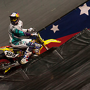 January 8, 2014 - New York, NY : Nitro Circus, an action/extreme sports show starring Travis Pastrana, made its Madison Square Garden debut in Manhattan on Wednesday night. Pictured here, Travis Pastrana on his motocross bike during the show. CREDIT : Karsten Moran for The New York Times **SEE LICENSING  RESTRICTIONS IN INSTRUCTION FIELD**