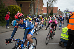 Elise Maes (LUX) of Team WNT finishes Stage 4 of the Healthy Ageing Tour - a 126.6 km road race, starting and finishing in Finsterwolde on April 8, 2017, in Groeningen, Netherlands.