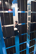 A glass partition containing solar cells at the PV Expo 2009, Tokyo International Exhibition Center, Tokyo, 26 February 2009.