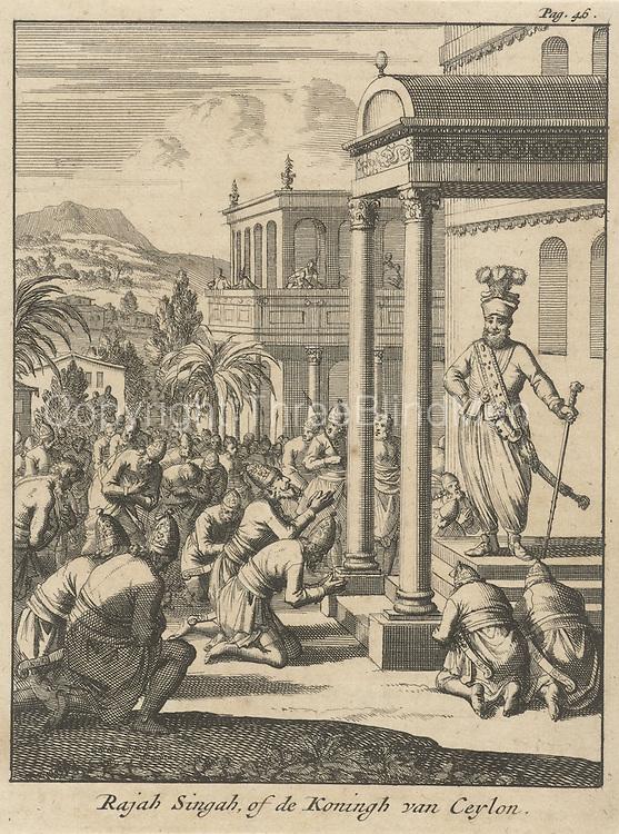 Rajasingha ii<br /> Nationals kneel before the king of Ceylon, Rajah Singha, Jan Luyken, 1692.<br /> from Rijks Museum, Netherlands.