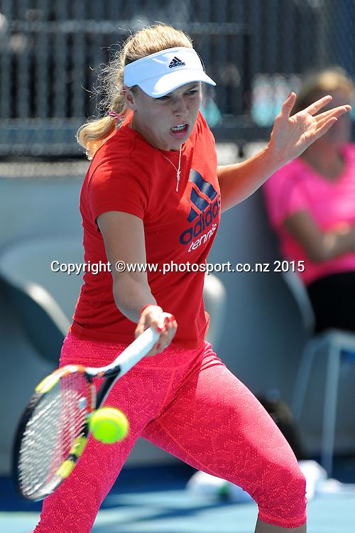 Caroline Wozniacki (DEN) during training at the ASB Classic Women's International. ASB Tennis Centre, Auckland, New Zealand. Sunday 4 January 2015. Photo: Chris Symes/www.photosport.co.nz