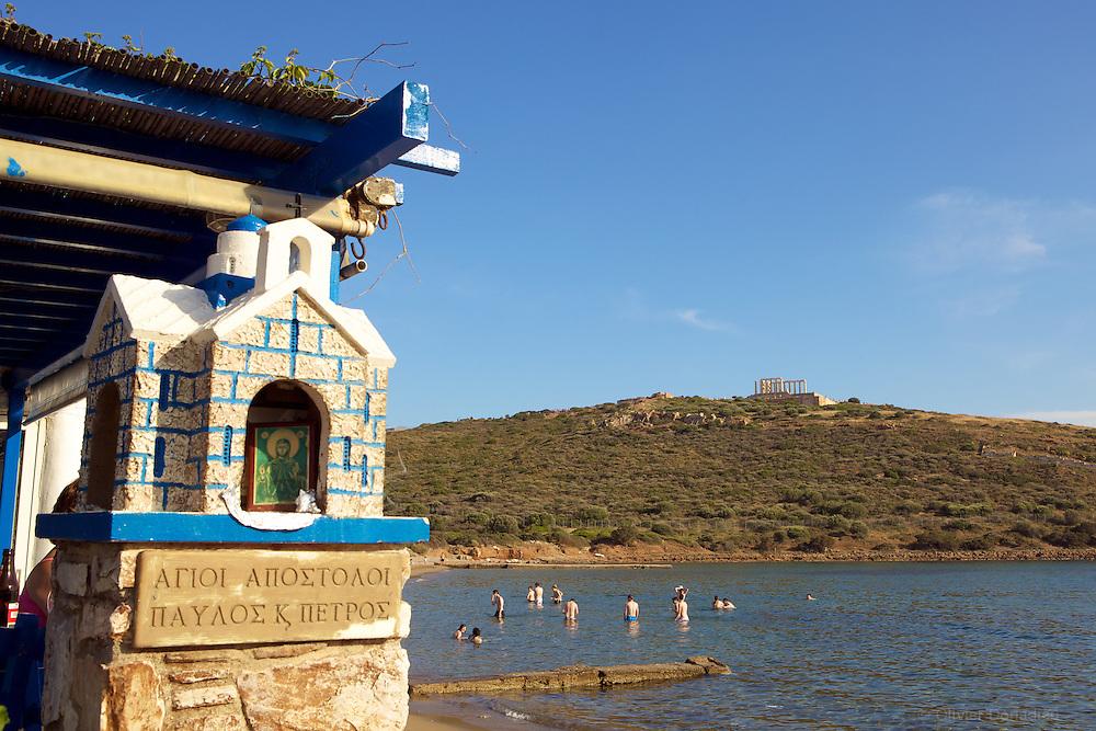 Cape Sounion and the Temple of Poseidon, Greece. Le Cap Sounion et le Temple de Posseidon, Grece.