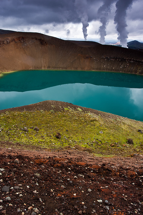 Several layers of color in the trail around Viti Explosion Crater, in the volcanic area of Krafla, in the north of Iceland