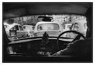 A gaggle of Ambassador cars, Calcutta.
