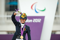 Gold medalists Michele George (BEL)<br /> Individual Championship Test - Grade IV - Dressage <br /> London 2012 Paralympic Games<br /> © Hippo Foto - Jon Stroud