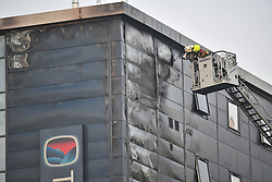 © Licensed to London News Pictures. 04/12/2019. London, UK. The scene of a huge fire at a Travel Lodge hotel at Kew Bridge in Brentford, West London. Photo credit: Ben Cawthra/LNP