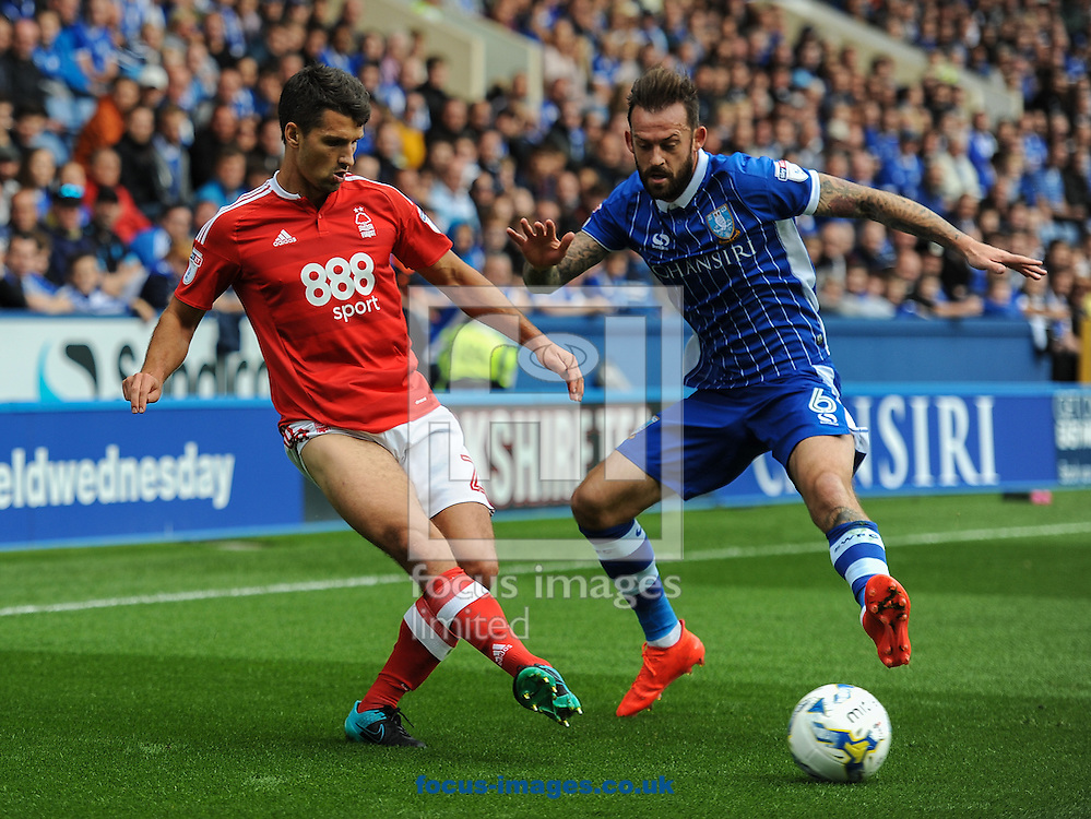 Steven Fletcher of Sheffield Wednesday and Eric Lichaj of Nottingham Forest during the Sky Bet Championship match at Hillsborough, Sheffield<br /> Picture by Richard Land/Focus Images Ltd +44 7713 507003<br /> 24/09/2016