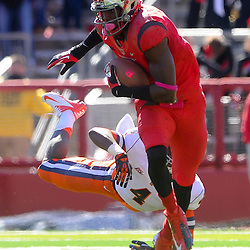 Oct 13, 2012: Rutgers Scarlet Knights wide receiver Brandon Coleman (17) escapes Syracuse Orange cornerback Brandon Reddish (4) during NCAA Big East college football action between the Rutgers Scarlet Knights and Syracuse Orange at High Point Solutions Stadium in Piscataway, N.J.